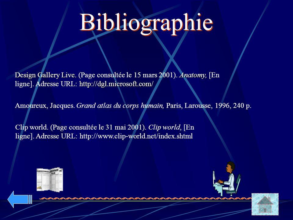 Bibliographie Design Gallery Live. (Page consultée le 15 mars 2001). Anatomy, [En ligne]. Adresse URL: http://dgl.microsoft.com/